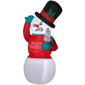 Gemmy Animated Airblown Shivering Snowman with Ugly Sweater 6 foot Christmas Inflatable