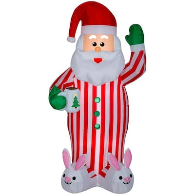 Gemmy Christmas Inflatables 2019.Gemmy 6 98 Ft Lighted Santa Christmas Inflatable At Lowes Com