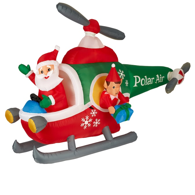 Gemmy 5 1 Ft Animatronic Lighted Helicopter Christmas Inflatable In The Christmas Inflatables Department At Lowes Com