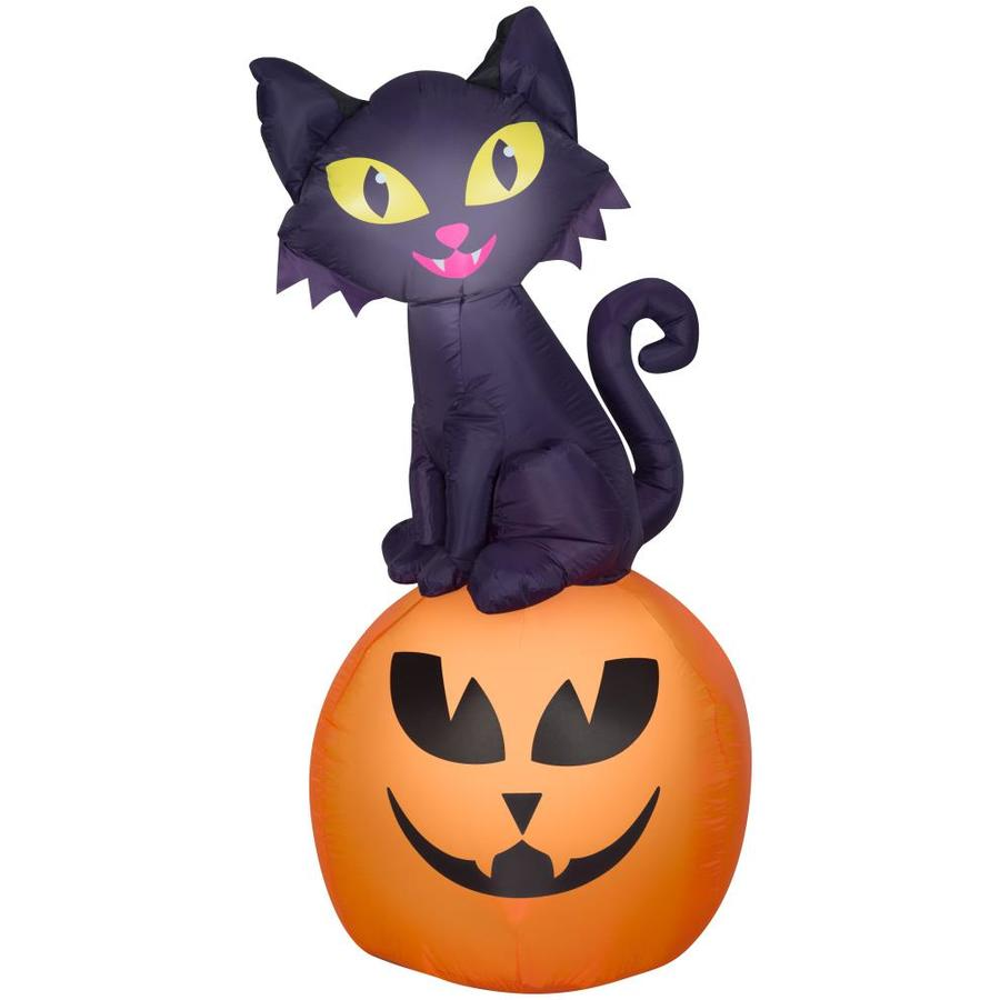 Gemmy 5 5 Ft X 2 5 Ft Lighted Black Cat Halloween Inflatable In The Outdoor Halloween Decorations Inflatables Department At Lowes Com