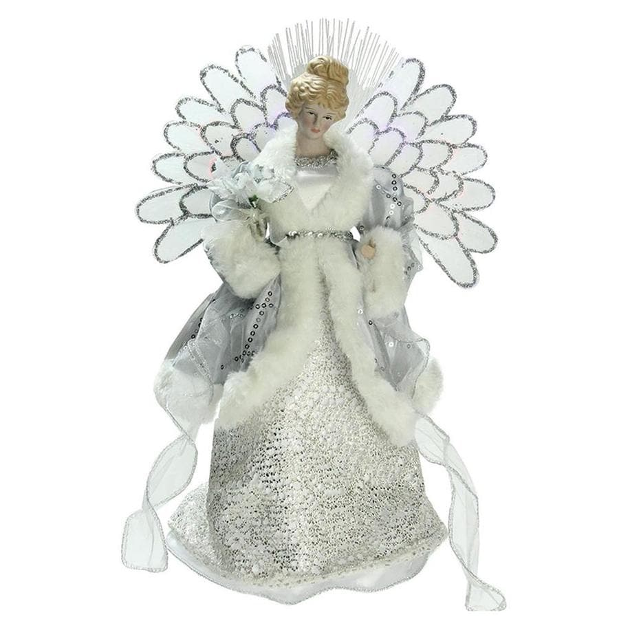 Christmas Tree Angel Tree Topper: Northlight 13-in Pre-lit Battery-Operated Fiber Optic