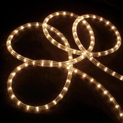 18 Ft Constant White Christmas Rope Lights In Clear Tubing