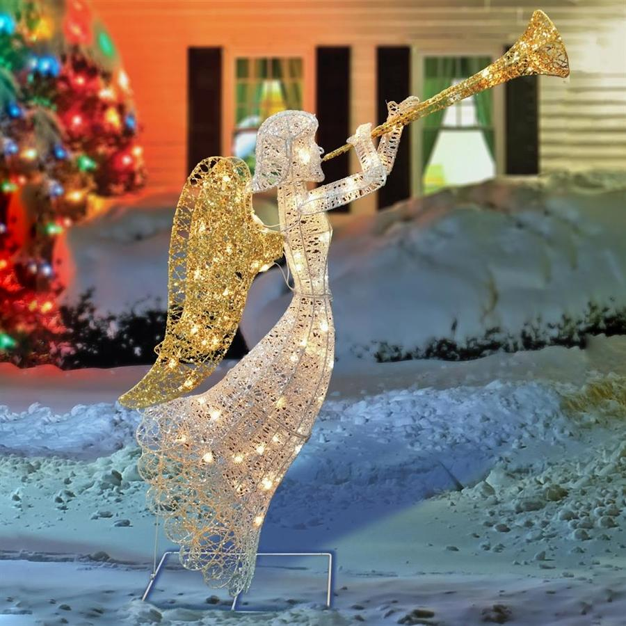 Northlight 4-ft Lighted Glittered Silver and Gold Trumpeting Angel Christmas Outdoor Decoration
