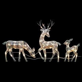 Northlight Set of 3 White Glittered Doe Fawn and Reindeer Lighted Christmas Outdoor Decoration