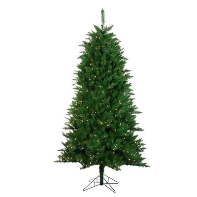Slim Green Fir Artificial Christmas Tree With Multi Colored Lights - Go Green Collections