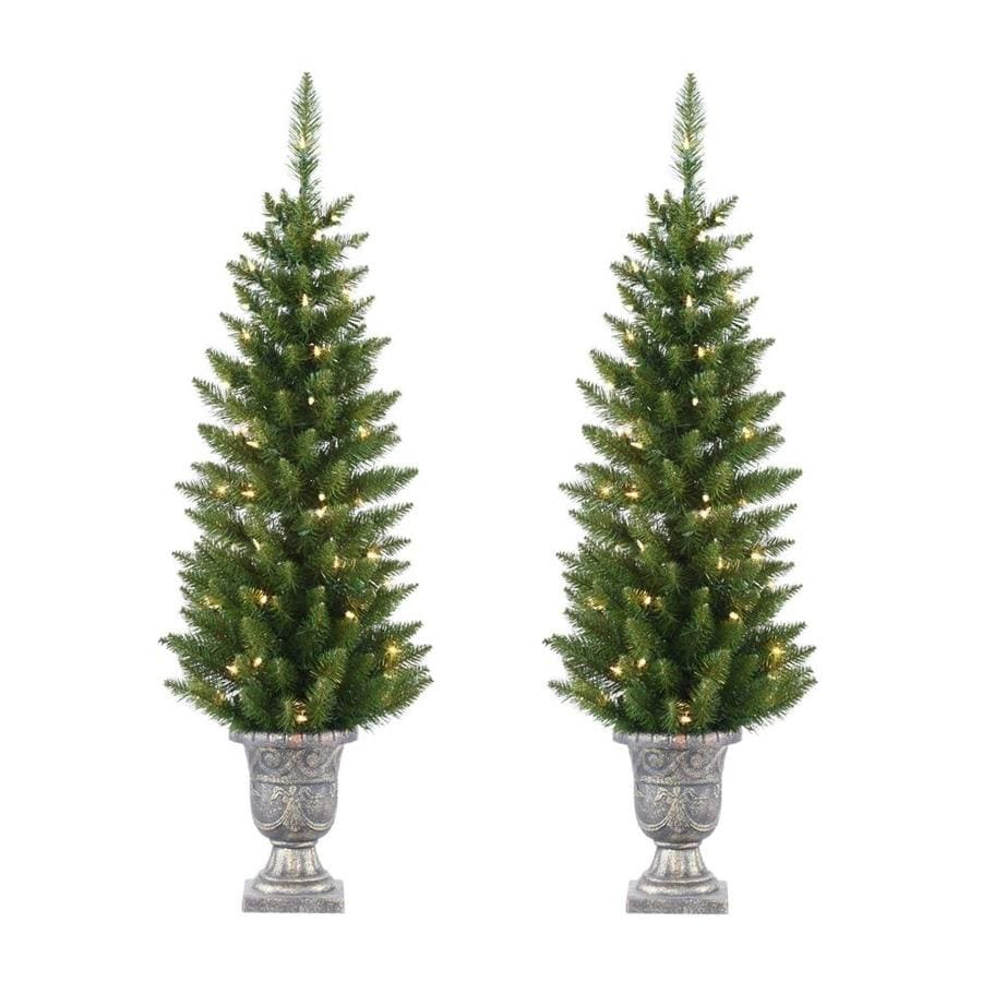 Real Christmas Trees Lowes: Northlight Set Of 2 4-ft Potted Christmas Trees At Lowes.com