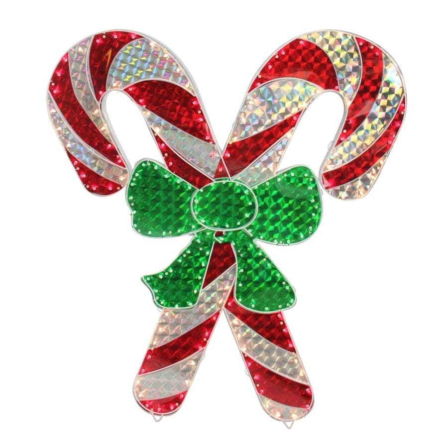 Northlight 4-ft Holographic Lighted Double Candy Cane ...