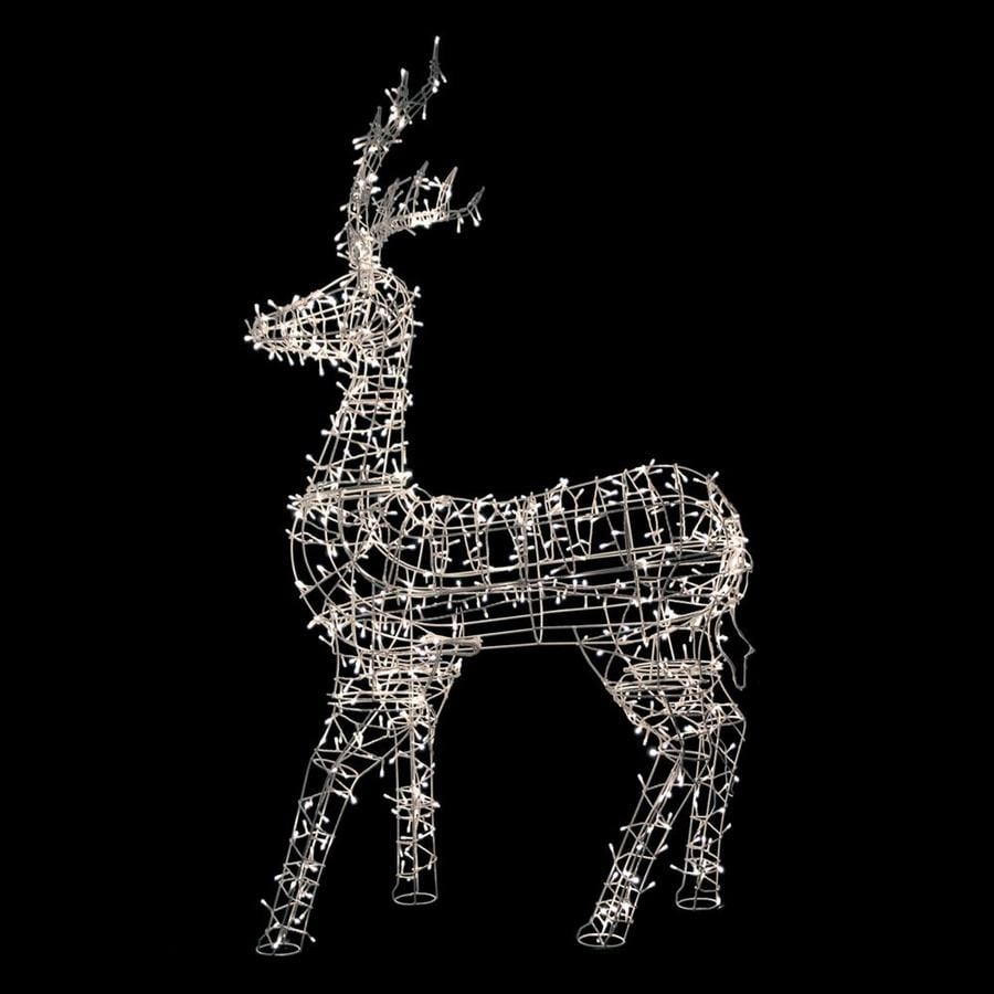 Large Wall Mounted White LED Reindeer Head Outdoor Christmas Display