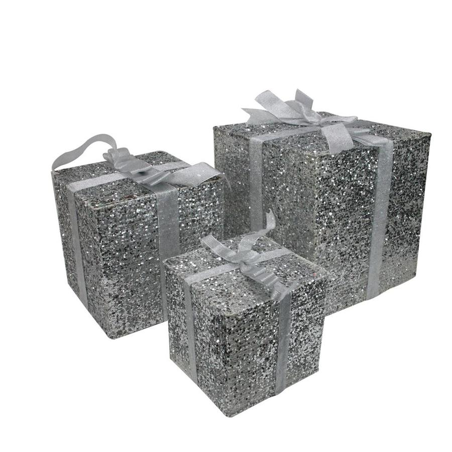 Northlight Set of 3 Lighted Silver Glitter Gift Box ...