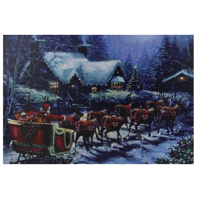 Christmas Led Canvas.Northlight Led Lighted Santa Claus In Sleigh Christmas
