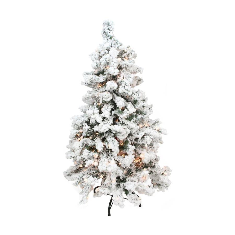 White 4 Foot Christmas Tree: Northlight 4-ft 6-in 270-Count Pre-lit Flocked Artificial