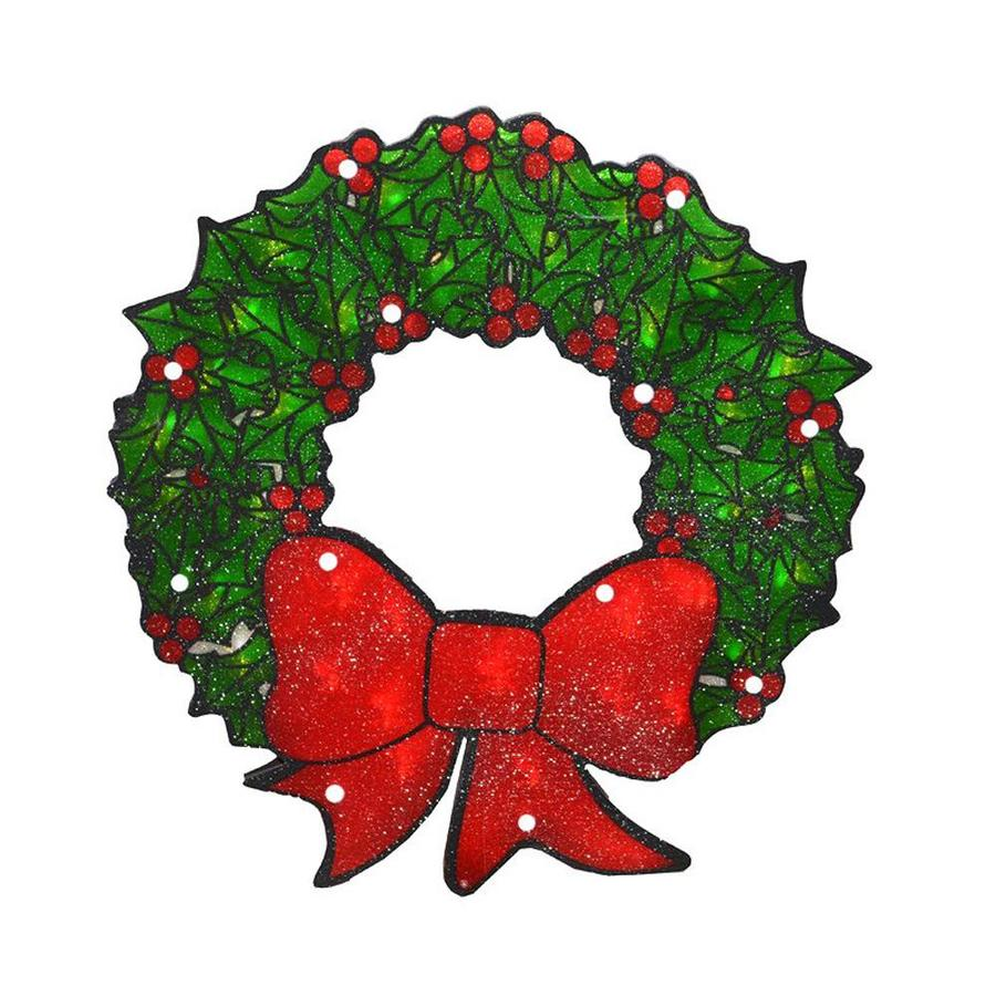 CHRISTMAS RIBBON WREATH WINDOW CLINGS