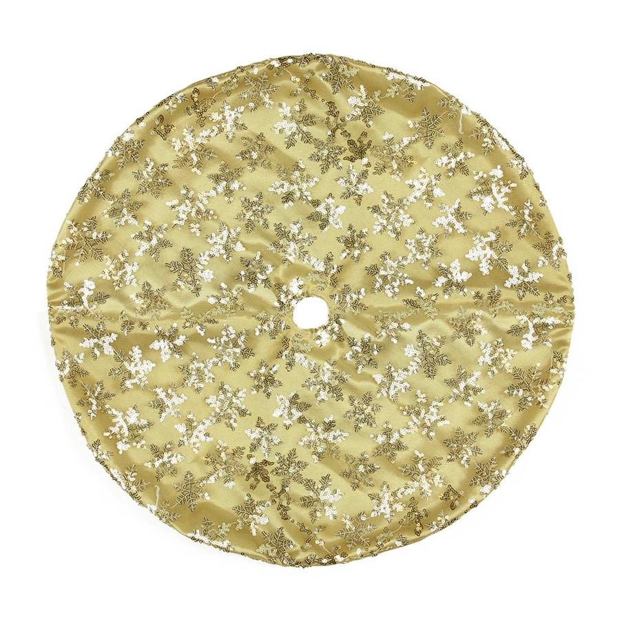 Northlight 20 In Gold Polyester Snowflake Christmas Tree Skirt At