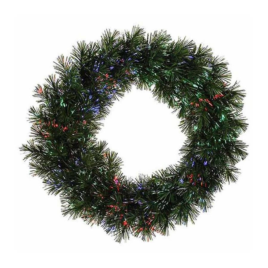 Northlight 30 In Pre Lit Indoor Battery Operated Pine Artificial Christmas Wreath With Multicolor Fiber Optic Lights