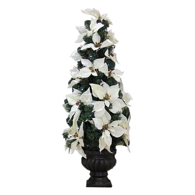Northlight 3-ft Pre-Lit Poinsettia Slim Artificial Christmas ...