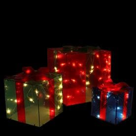 0131105bacb29 Northlight Set of 3 Red Green and Blue Lighted Glistening Gift Box Christmas  Outdoor Decorations