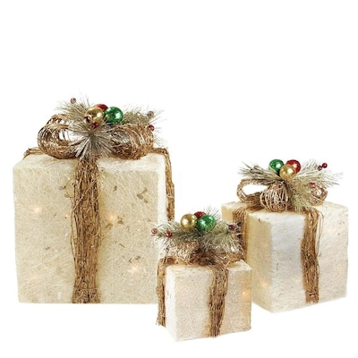 Lighted Christmas Boxes Decoration.Northlight Set Of 3 Lighted Cream And Gold Sisal Gift Boxes