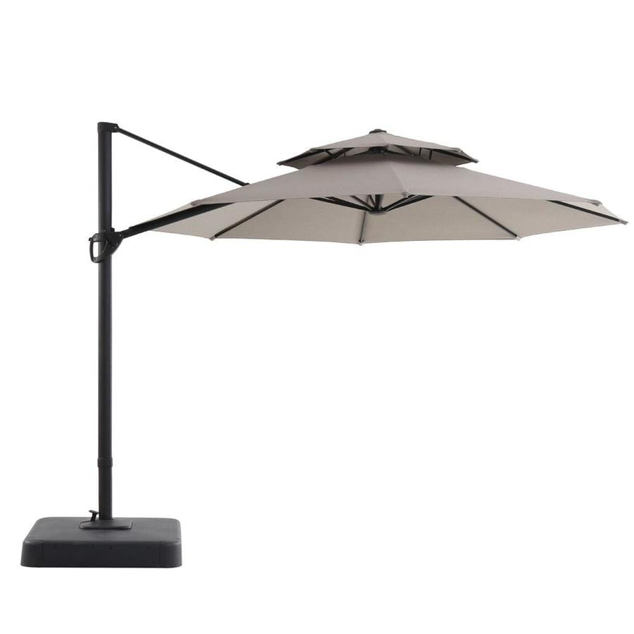 Royal Garden Tan Offset 11 Ft Push On Tilt Round Patio Umbrella With Aluminum Frame And Base