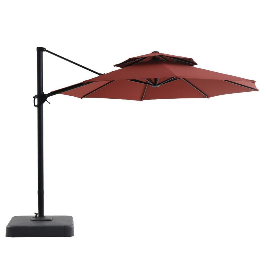 Royal Garden Red Offset 11 Ft Push On Tilt Round Patio Umbrella With Aluminum Frame And Base