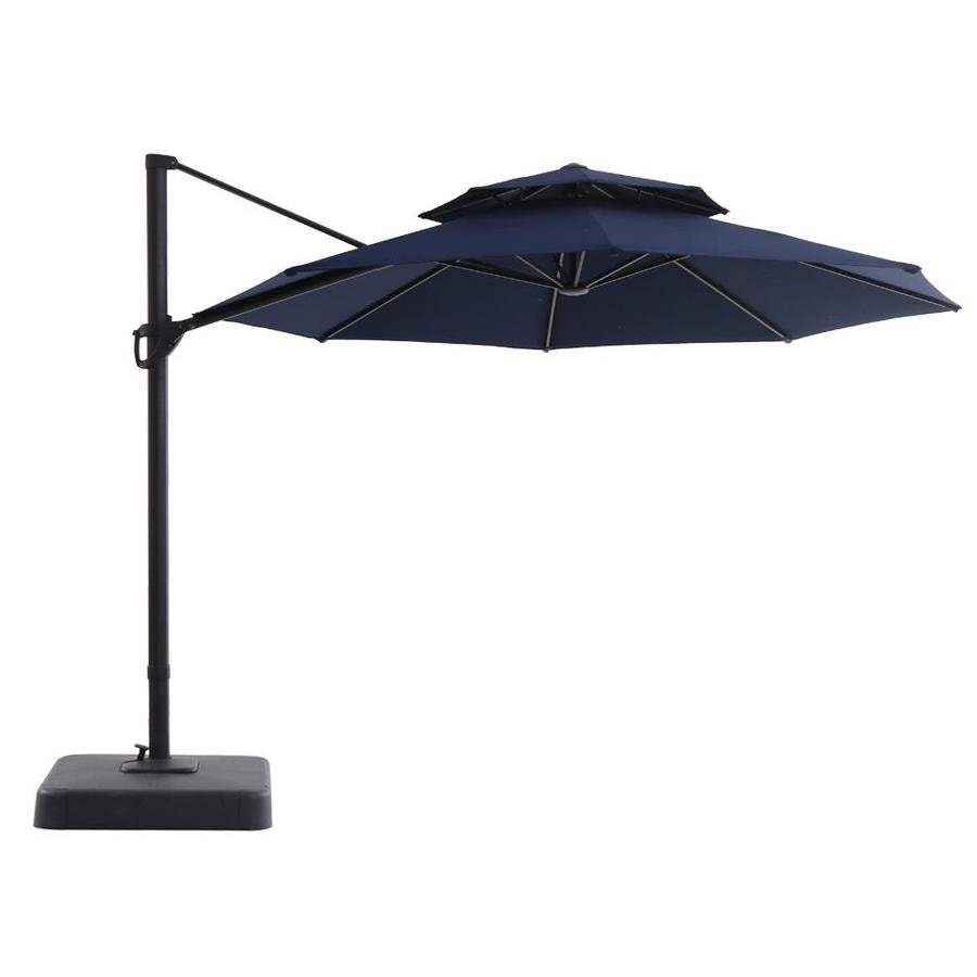 Royal Garden Navy Offset 11 Ft Push On Tilt Round Patio Umbrella With Aluminum Frame And Base