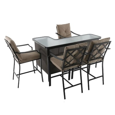Pleasant Vinehaven 5 Piece Brown Metal Frame Bar Height Patio Set With Tan Olefin Cushions Bar Height Lamtechconsult Wood Chair Design Ideas Lamtechconsultcom