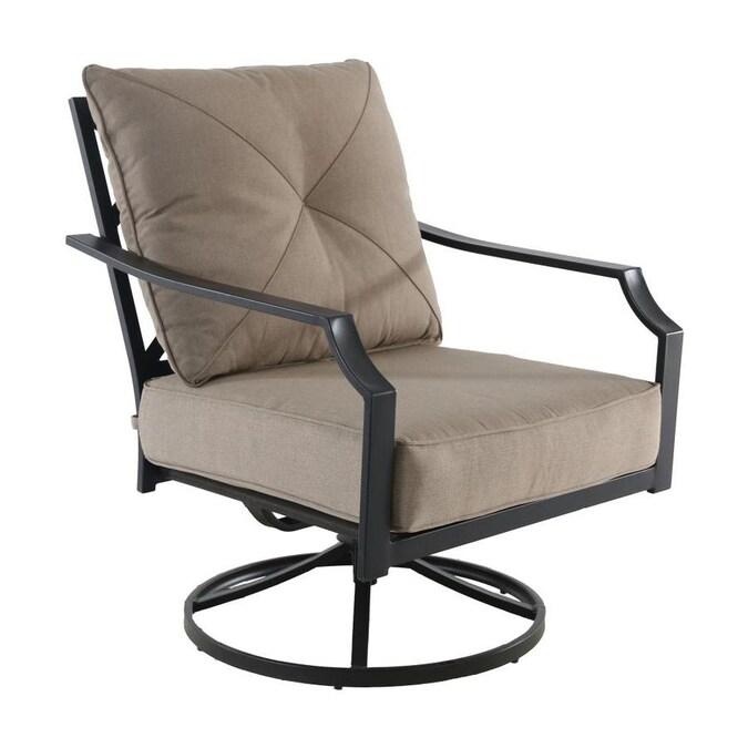 Brown Metal Swivel Rocking Chair S, Outdoor Furniture Swivel Rocker Chair