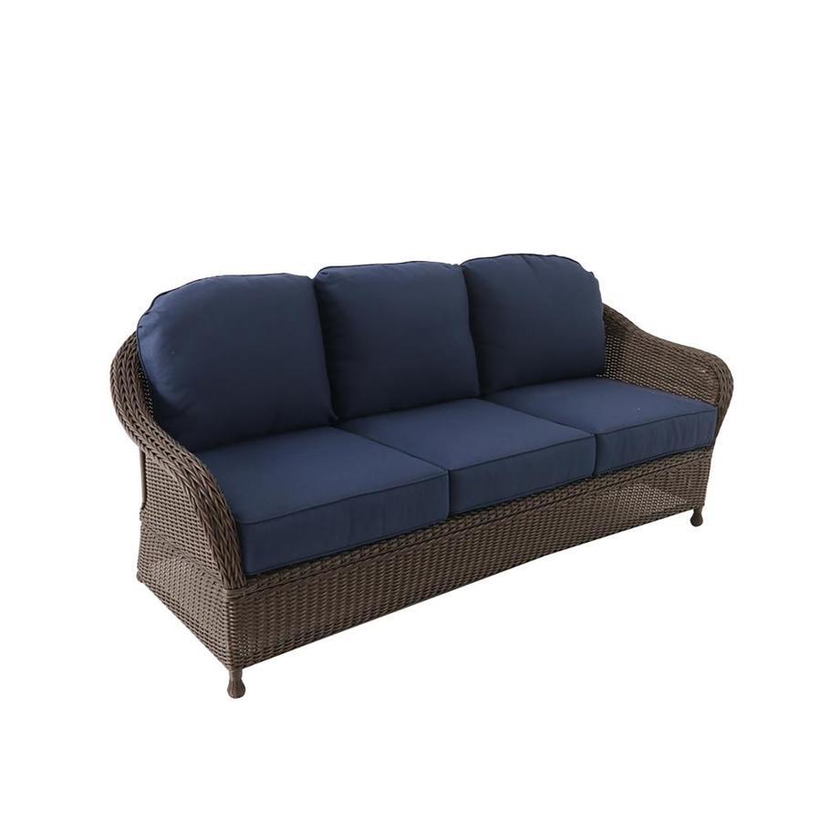 Allen Roth Mcaden Wicker Outdoor Sofa With Blue Cushion