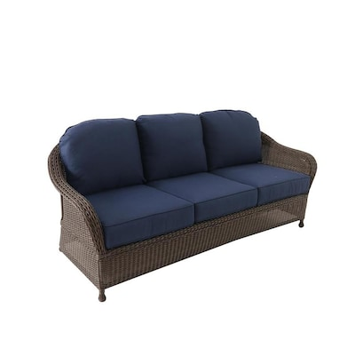 Magnificent Mcaden Wicker Outdoor Sofa With Cushion And Steel Frame Ibusinesslaw Wood Chair Design Ideas Ibusinesslaworg