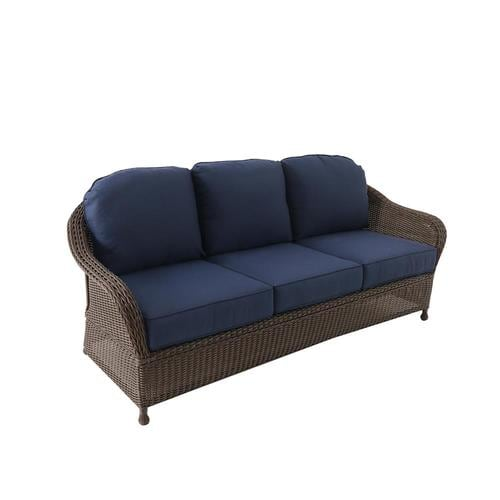 Allen + roth McAden Wicker Outdoor Sofa with Cushion and Steel Frame at  Lowes.com