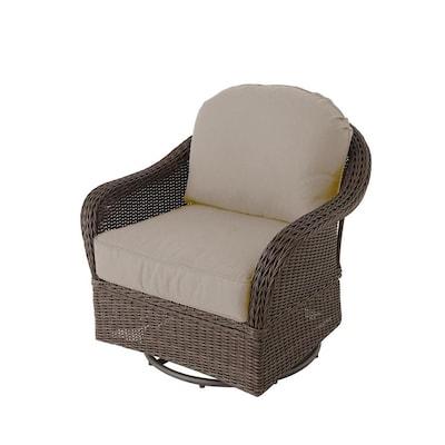 Terrific Mcaden Set Of 2 Wicker Metal Swivel Glider Conversation Chair S With Tan Cushioned Seat Beatyapartments Chair Design Images Beatyapartmentscom