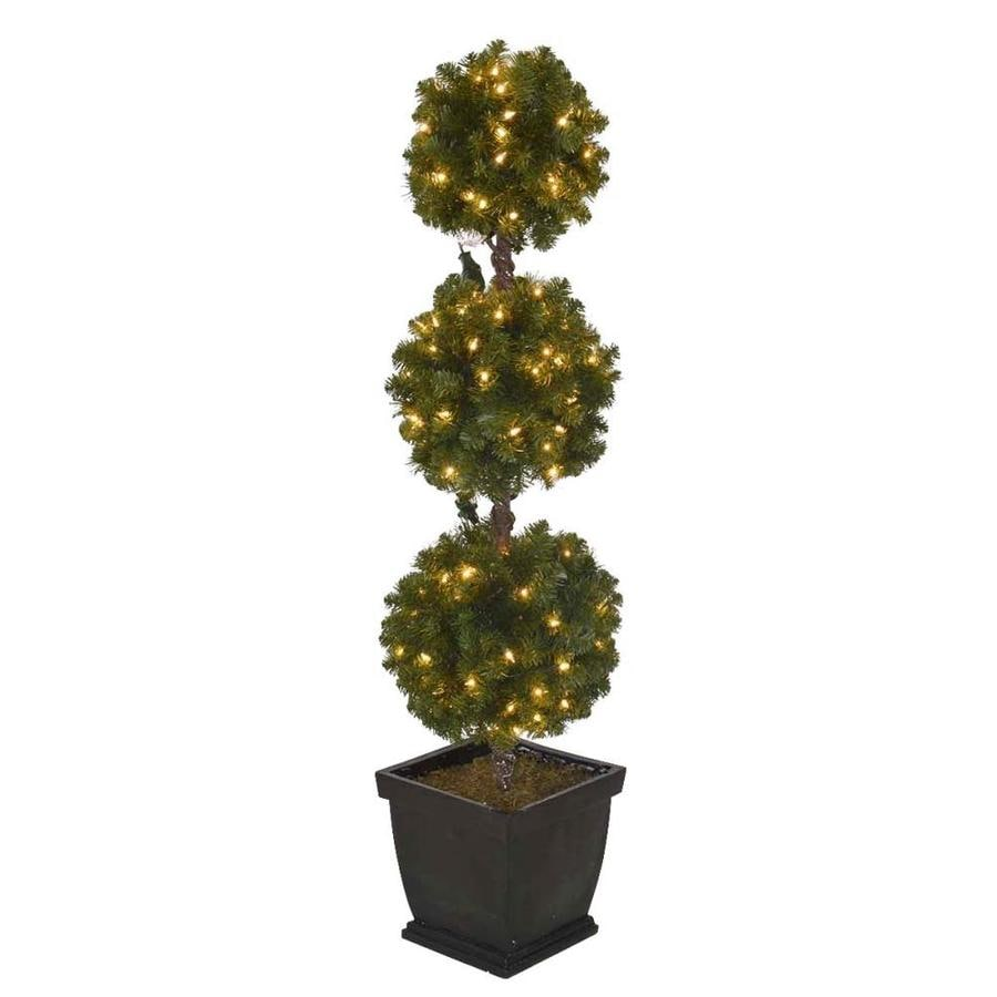 Holiday Living 4 Ft Pre Lit Triple Ball Topiary Slim