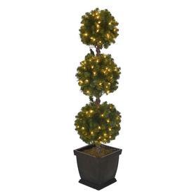 4ft christmas tree with lights white holiday living 4ft prelit triple ball topiary slim artificial christmas tree with trees at lowescom