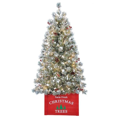 4 Ft White Christmas Trees Artificial: Holiday Living 4-ft Pre-Lit Norfolk Pine Flocked
