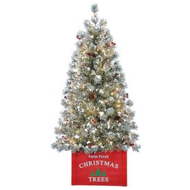 holiday living 4 ft pre lit norfolk pine flocked artificial christmas tree with 100