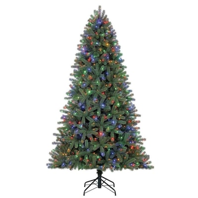 Living Christmas Tree.7 5 Ft Pre Lit Colorado Spruce Artificial Christmas Tree With 700 Multi Function Color Changing Led Lights