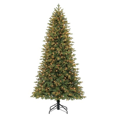 7.5-ft Pre-Lit Norway Spruce Slim Artificial Christmas Tree with 500  Constant White Clear Incandescent Lights
