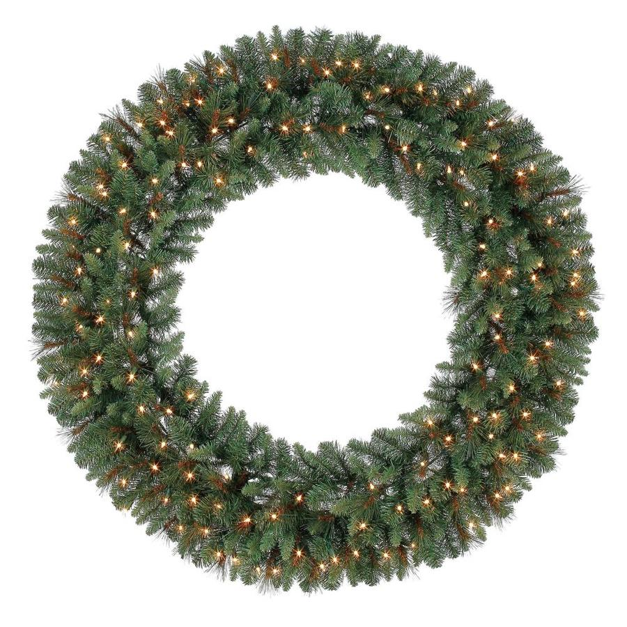 Holiday Living 60 In Pre Lit Green Scottsdale Pine Artificial Christmas Wreath With White Clear Incandescent In The Artificial Christmas Wreaths Department At Lowes Com