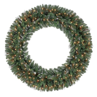 holiday-living-60-in-pre-lit-outdoor-green-scottsdale-pine-artificial-christmas-wreath-with-white-clear-incandescent by lowes