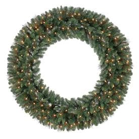 holiday living 60 in pre lit green scottsdale pine artificial christmas wreath with white - Artificial Christmas Wreaths Decorated