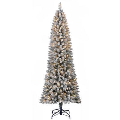 new style c291e 8d11f Holiday Living 7-ft Pre-lit Pine Slim Flocked Artificial ...