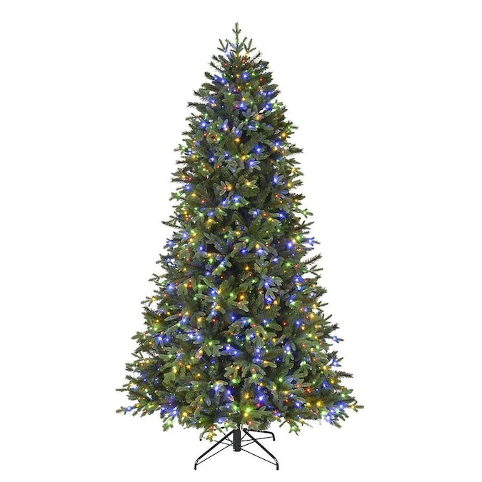 Holiday Living 7 5 Ft Spruce Pre Lit Traditional Artificial Christmas Tree With 1200 Color Changing Color Changing Led Lights In The Artificial Christmas Trees Department At Lowes Com