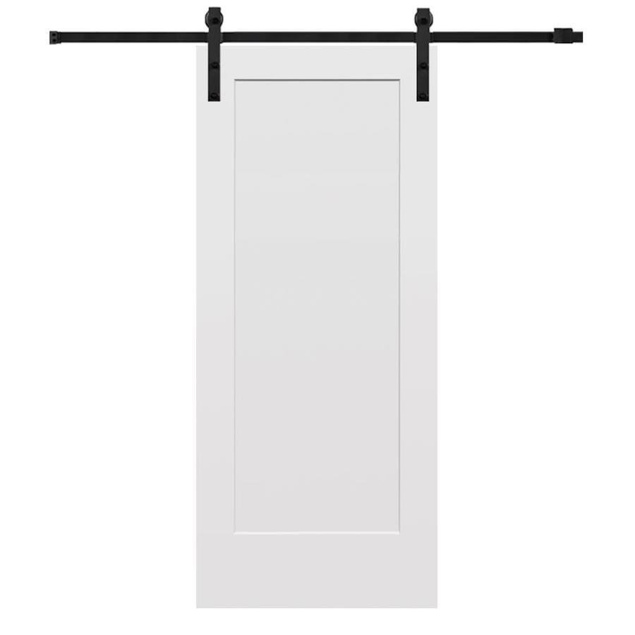 MMI DOOR 32 Inx80 In Primed Madison Barn Door With Sliding Door Hardware Kit