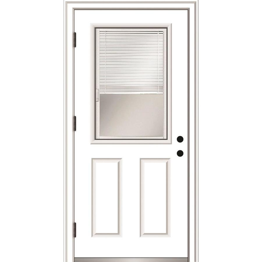 Mmi Door 36 In X 80 In Fiberglass Half Lite Right Hand Outswing Primed Prehung Single Front Door With Brickmould And Blinds In The Front Doors Department At Lowes Com