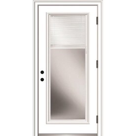 Mmi Door 36 In X 80 In Fiberglass Full Lite Left Hand Outswing Primed Prehung Single Front Door With Brickmould And Blinds In The Front Doors Department At Lowes Com