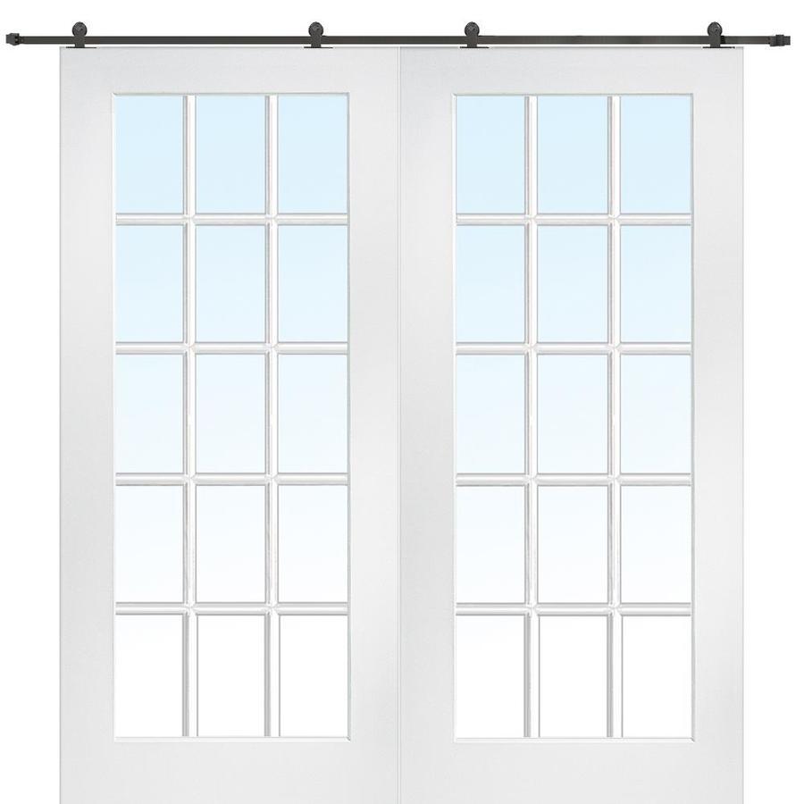 Shop Mmi Door 64 Inx80 In Primed 15 Lite True Divided Barn Door With