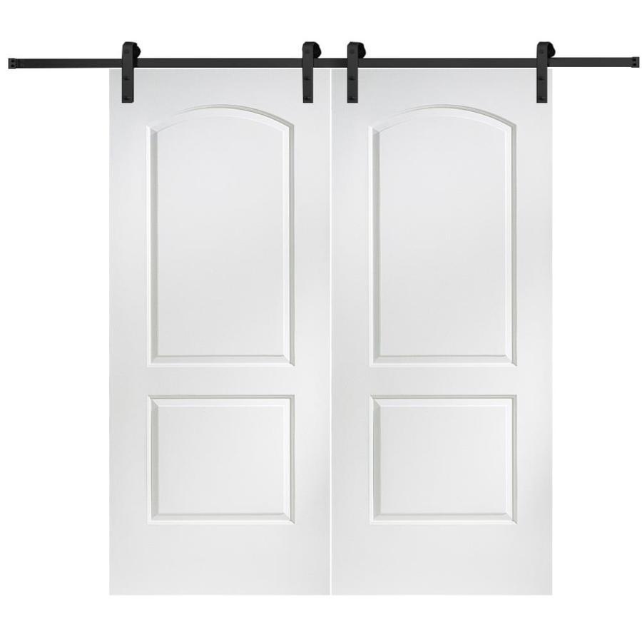 MMI DOOR 72 Inx80 In Primed Caiman Barn Door With Sliding Door Hardware Kit