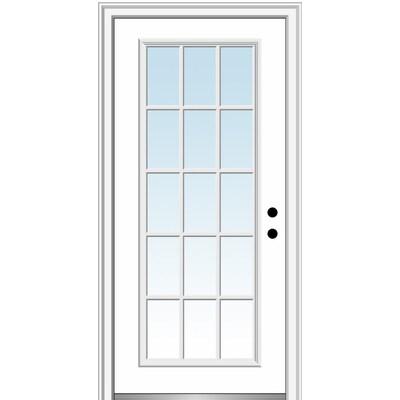 Mmi Door 30 In X 80 In Fiberglass Full Lite Left Hand Inswing Primed Prehung Single Front Door With Brickmould In The Front Doors Department At Lowes Com