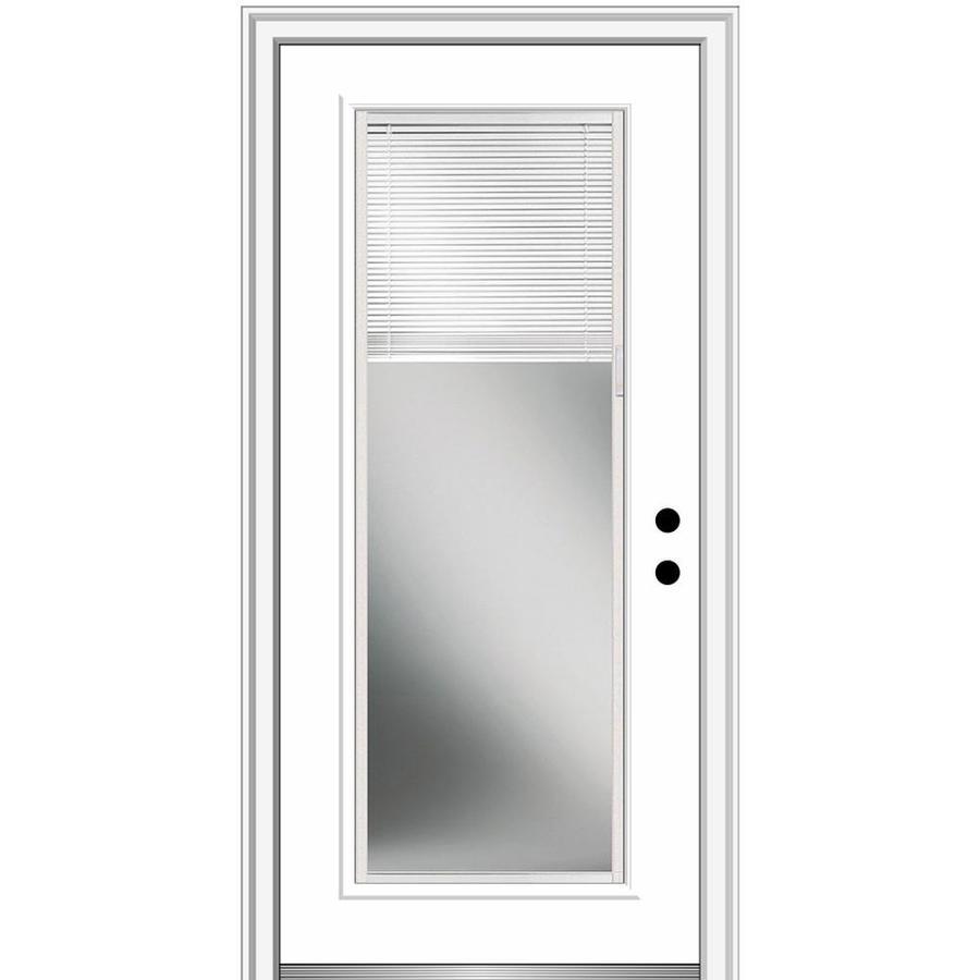 Mmi Door 30 In X 80 In Fiberglass Full Lite Left Hand Inswing Primed Prehung Single Front Door With Brickmould And Blinds In The Front Doors Department At Lowes Com