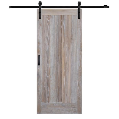 42 Inx84 In Rustic White Oak 1 Panel Flat Barn Door With Sliding Hardware Kit