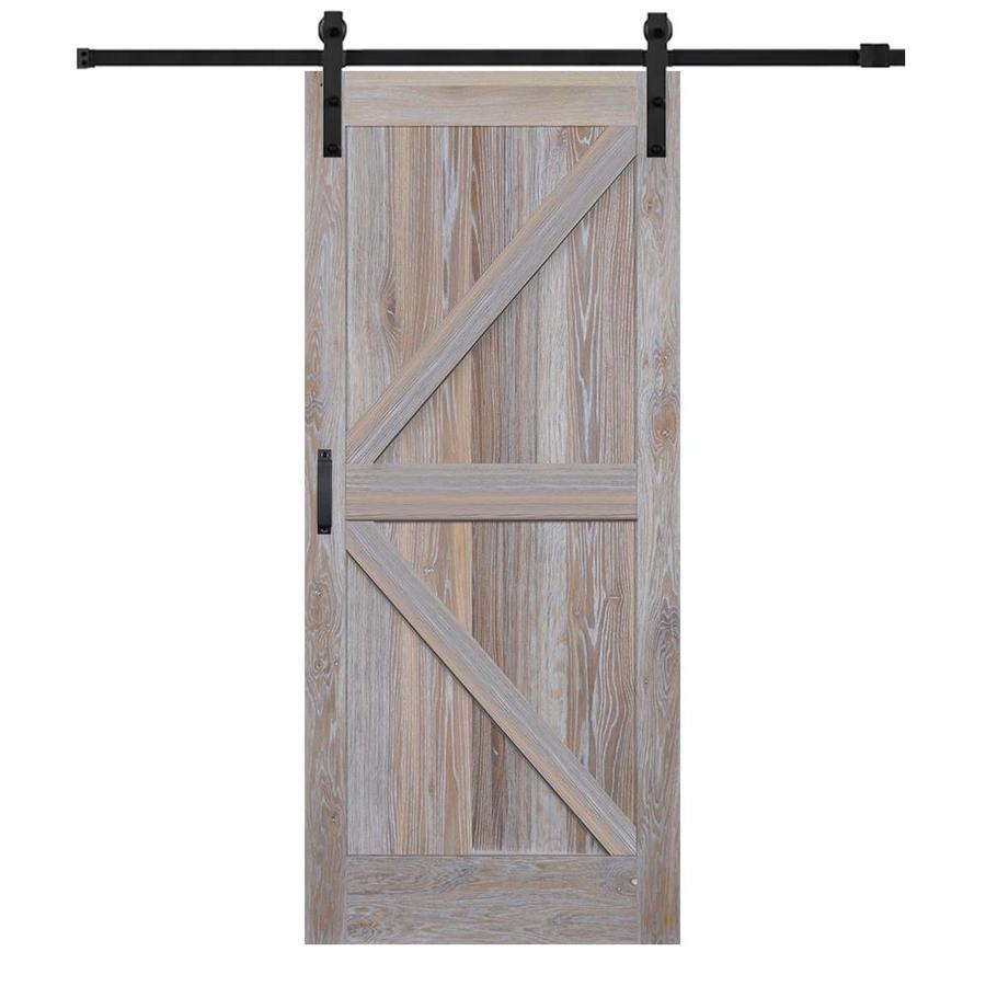 Mmi Door 42 Inx84 In Rustic White Oak K Plank Barn Door